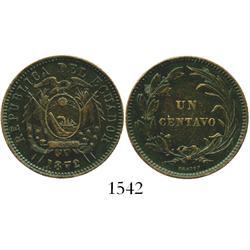 Ecuador, copper 1 centavo, 1872 (HEATON).