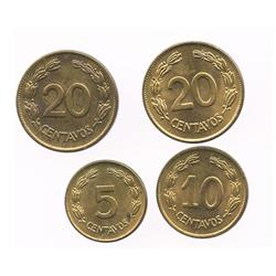 Lot of 4 Ecuador brass coins: 20c, 1942 and 1944; 10c, 1942; 5c, 1942.