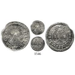 El Salvador, 1/2 real, 1835-SS (San Salvador), denomination as 1/P to right, very rare.