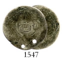 "El Salvador, 1 real, (1869) Type V ""arms"" countermark on a Lima, Peru, cob 1 real, Philip II, assaye"