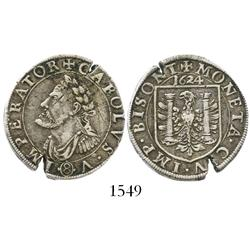Besancon, Franche-Comte (Hapsburg rule), France, teston or 8 gros, Charles V memorial, 1624.