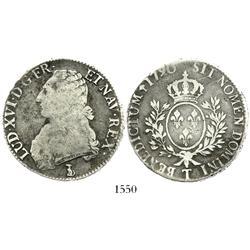 France (Nantes mint), ecu, Louis XVI, 1790-T.