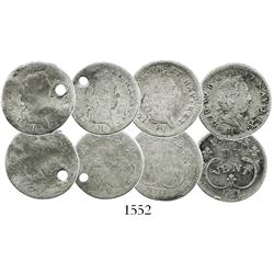 Lot of 4 French colonial (Windward Islands), silver 6 sols, Louis XV, 1731-H (La Rochelle).