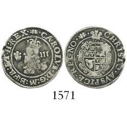 England, threepence, Charles I, Aberystwyth mint (1638-42).
