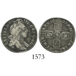 London, England, sixpence, William III, 1697.