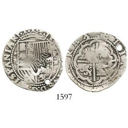 "Guatemala, 2 reales ""moclon,"" crown countermark (1662) on a Lima, Peru, cob 2 reales of Philip II, a"