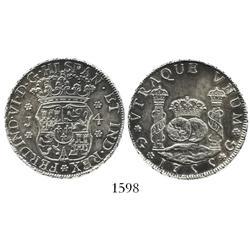 Guatemala, pillar 4 reales, Ferdinand VI, 1755J, ball-tip J, rare.