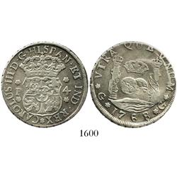 Guatemala, pillar 4 reales, Charles III, 1768P.