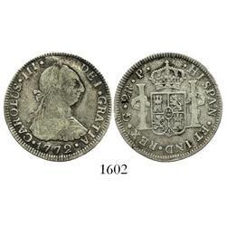 Guatemala, bust 2 reales, Charles III, 1772P.