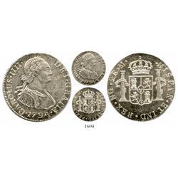 Guatemala, bust 2 reales, Charles IV, 1794M.