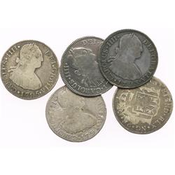 Lot of 5 Guatemala bust 2R, Charles IV, various dates (1790M, 1791M, 1793M, 1795M and 1797M).