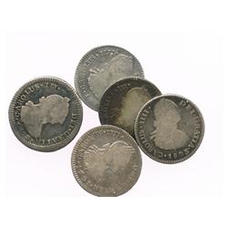 Lot of 5 Guatemala bust 1R, Charles III and IV, various dates (1773P, 1787M, 1791M, 1799M and 1803M)
