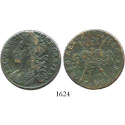 "Ireland, copper ""gunmoney"" half crown, James II, 1689 (August)."