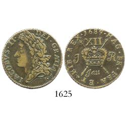 "Ireland, copper ""gunmoney"" shilling, James II, 1689 (January)."
