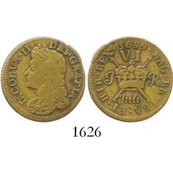 "Ireland, brass ""gunmoney"" sixpence, James II, 1689 (July)."