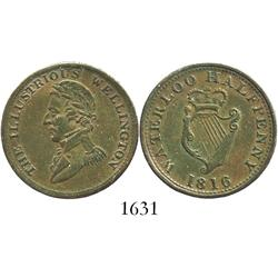"Ireland, copper ""Waterloo"" half penny token, 1816, Wellington."