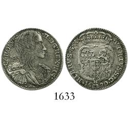 Naples and Sicily (under Spain), 10 grana (carlino), Charles II, 1690M-AG-A.