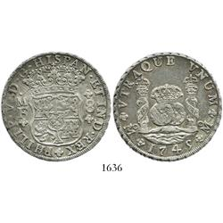 Mexico City, Mexico, pillar 8 reales, Philip V, 1745/5MF.
