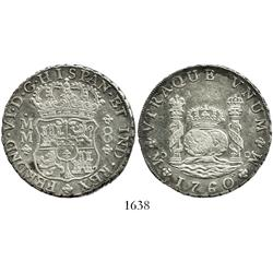 Mexico City, Mexico, pillar 8 reales, Ferdinand VI, 1760MM.