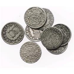 Lot of 8 Mexico City, Mexico, pillar 1R, Philip V and Ferdinand VI, various dates (1735MF, 1736MF [2
