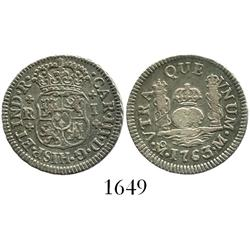 Mexico City, Mexico, pillar 1 real, Charles III, 1763/2M, plain-cross ornaments.