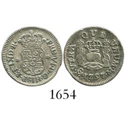 Mexico City, Mexico, pillar 1/2 real, Ferdinand VI, 1757/6M, both crowns royal.