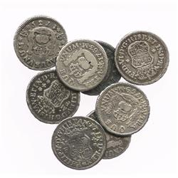 Lot of 8 Mexico City, Mexico, pillar 1/2R, various dates (1734/3MF, 1734MF, 1735MF, 1740MF, 1742M, 1