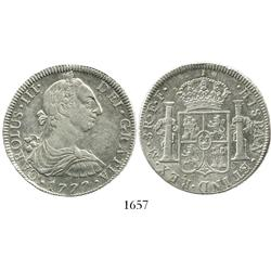 Mexico City, Mexico, bust 8 reales, Charles III, 1777FF, scarce.