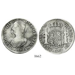 Mexico City, Mexico, bust 8 reales, Charles III, 1784FM, with bust on obverse engraved into a portra