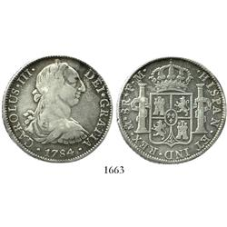 Mexico City, Mexico, bust 8 reales, Charles III, 1784FM.