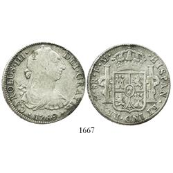 Mexico City, Mexico, bust 8 reales, Charles III, 1789FM, pre-transitional.