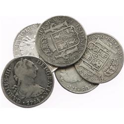 Lot of 5 Mexico City, Mexico, bust 8R of Charles III and IV, various dates (1774FM, 1777FM, 1784FM,