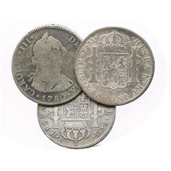 Lot of 3 Mexico City, Mexico, bust 4R, Charles III (1775FM, 1777FM and 1780FF).