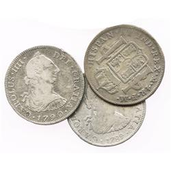 Lot of 3 Mexico City, Mexico, bust 4R, Charles IV, both transitional (bust of Charles III: 1789FM, o