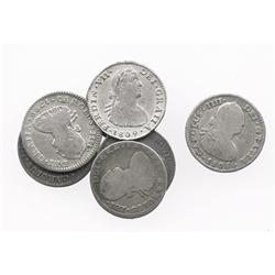 Lot of 7 Mexico City, Mexico, bust 1R, Charles IV and Ferdinand VII, various dates (1799FM, 1801FM,