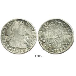 Chihuahua, Mexico, cast silver 8 reales, Ferdinand VII, 1813RP, with T and pillars/pomegranate count