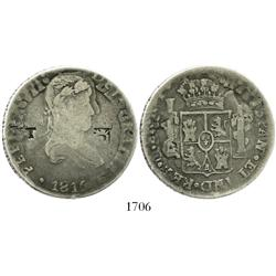 Chihuahua, Mexico, 8 reales, Ferdinand VII, 1816RP, with T and pillars/pomegranate countermarks.
