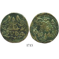 Oaxaca (SUD/Morelos), Mexico, copper 8 reales, 1814, floral ornamentation.