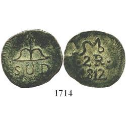 Oaxaca (SUD/Morelos), Mexico, copper 2 reales, 1812.