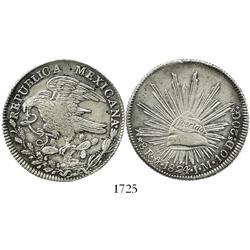 "Mexico City, Mexico, 8 reales ""hookneck,"" 1824JM."