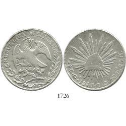Guadalajara, Mexico, 8 reales, 1847JG.