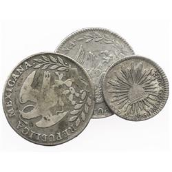 Lot of 3 Republic of Mexico cap-and-rays minors of various mints: 2R 1837GoPJ, 2R 1868PiPS and 1R 18