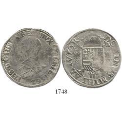 Gelderland, Spanish Netherlands, 1/2 philip daalder, Philip II, 1562, rare first date.