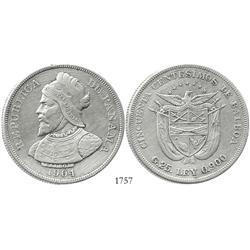 Panama, 50 centesimos de balboa, 1904.