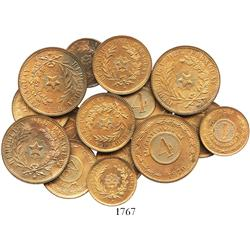 Paraguay, Lot of 5 sets of copper 4-2-1 centesimos, 1870, all choice Mint State (15 coins total).