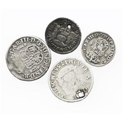 Lot of 4 Lima, Peru, pillar minors, all assayer JM: 1R, 1755, 1762; 1/2R, 1761, 1764.