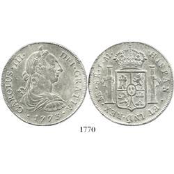 Lima, Peru, bust 8 reales, Charles III, 1773JM.