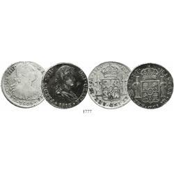 Lot of 2 Lima, Peru, bust 8 reales: Charles IV, 1805JP; Ferdinand VII, 1813JP.