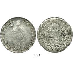 Lima, Peru, 8 reales, 1831MM, encapsulated NGC AU-55.