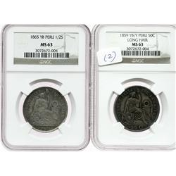 Lot of 2 Lima, Peru, half dollars (50c, 1859YB/Y, long hair; 1/2 sol, 1865YB), both encapsulated NGC